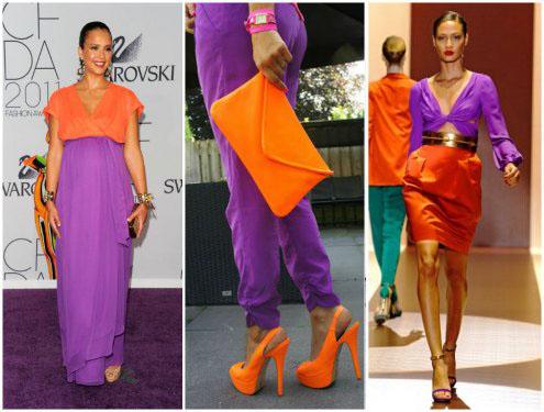 Какие цвета сочетаются с оранжевым в одежде