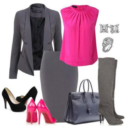 примеры на фото сочетания в одежде серого цвета